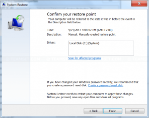 Confirm restore point