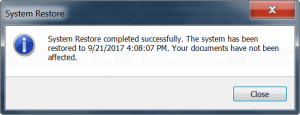 System Restore completed successfully
