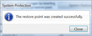 Created restore point successfully