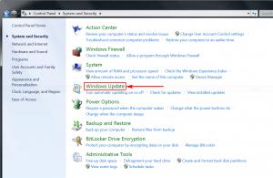 Select Windows Update
