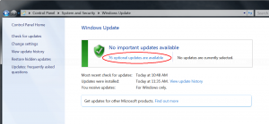 Select optional updates