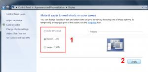 Adjust display scaling