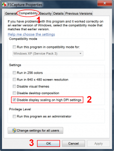 Disable display scaling on specific program