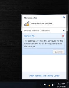 Saved wifi profile on Windows 7