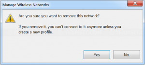 Confirm removing selected Wi-Fi profile