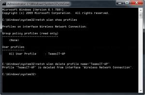 Remove Wi-Fi profile from command line
