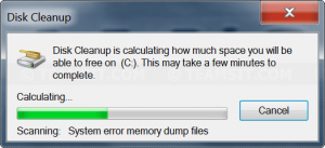 Disk Cleanup is scanning the drive
